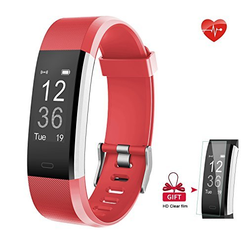 AIEX Fitness Tracker, Heart Rate Monitor Smart Watch With Connected GPS Tracker, 14 Sports Mode, Message Notification,Waterproof Activity Tracker for Android and iOS with Gift Screen Protector (Red)