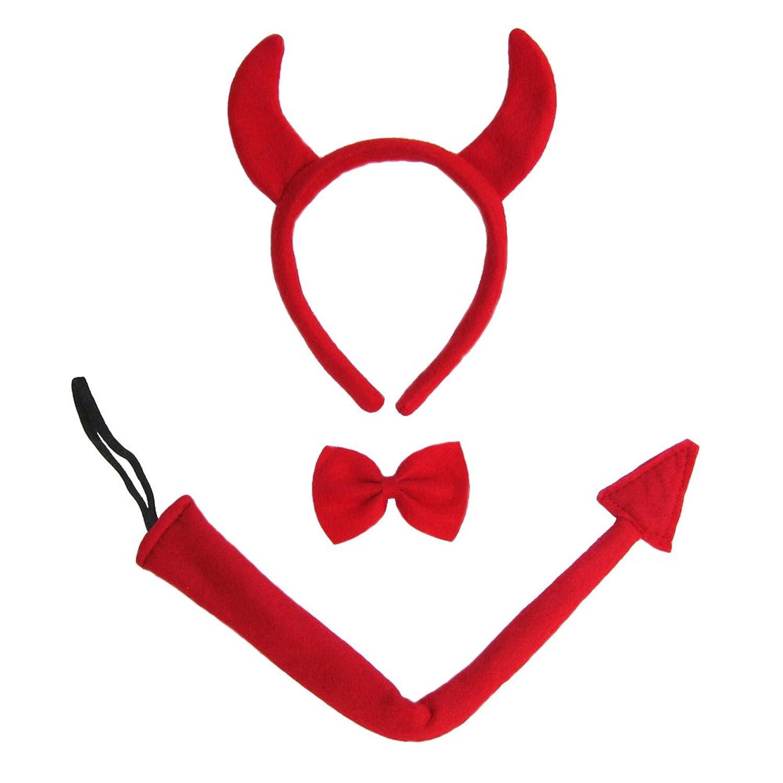 amazoncom seasonstrading devil horns tail bow tie costume set halloween costume kit clothing - Devil Horns For Halloween