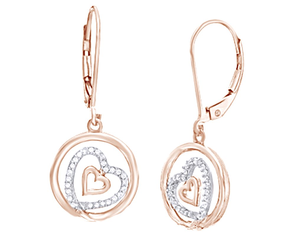 White Natural Diamond Tilted Double Heart Dangle Earrings In 14K Rose Gold Over Sterling Silver (0.17 Ct)