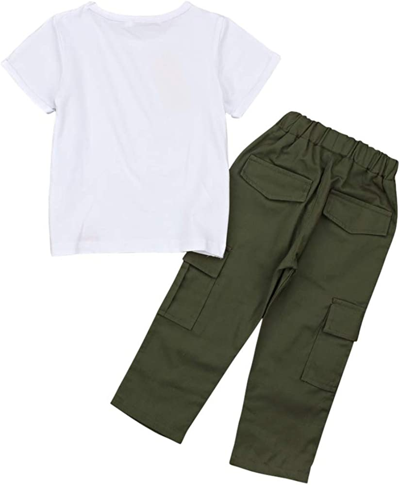 EITC 2 PCS Clothing Set Short Sleeve White T-Shirt and Green Pants for Toddler Boy