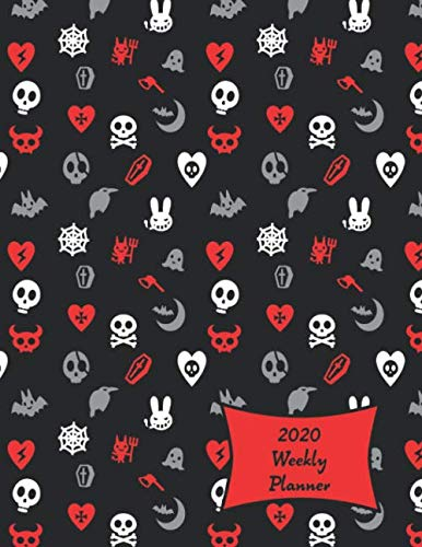 2020 Weekly Planner: Cute Skulls, Goth Hearts & Evil Bunnies Large Weekly Calendar With Goal Setting Section and Habit Tracking Pages, 8.5