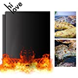 Hilove Grill Mat Set of 2- As Seen on TV Non-stick BBQ Grill & Baking Mats - FDA-Approved,Reusable and Easy to Clean - Works on Gas, Charcoal, Electric Grill and More - 16 x 13 Inch (black)