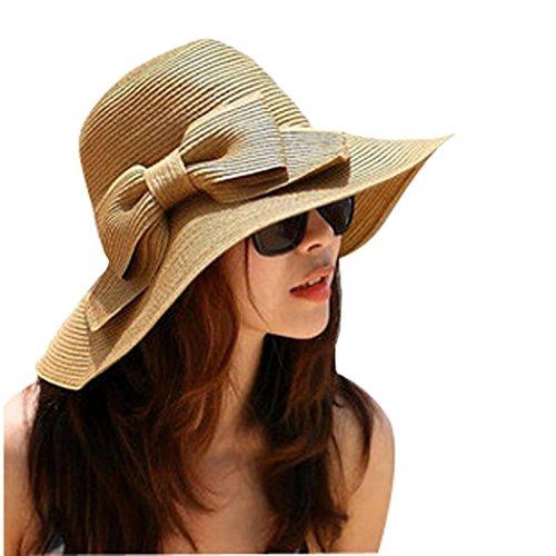 [YIWULA Summer Sun Floppy Hat Straw Beach Wide Large Brim Cap] (Hip Hop Felt Hat With Feather)