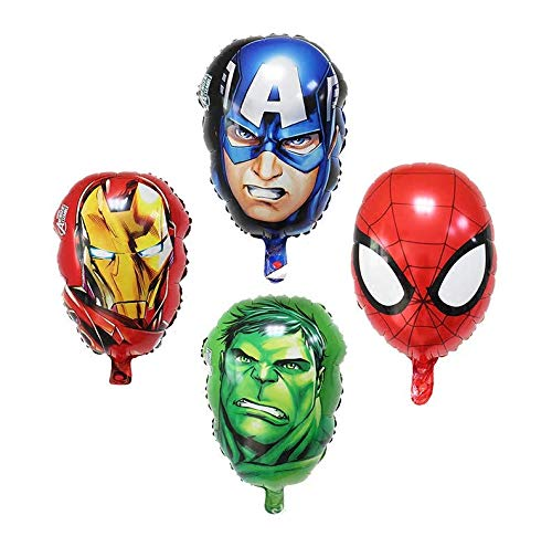 Astra Gourmet 4-pack Superhero Birthday Party Mylar Foil Balloon Avengers Super Hero Birthday Party Supplies Party Decorations(Spiderman/Ironman/Hulk/Captain America)