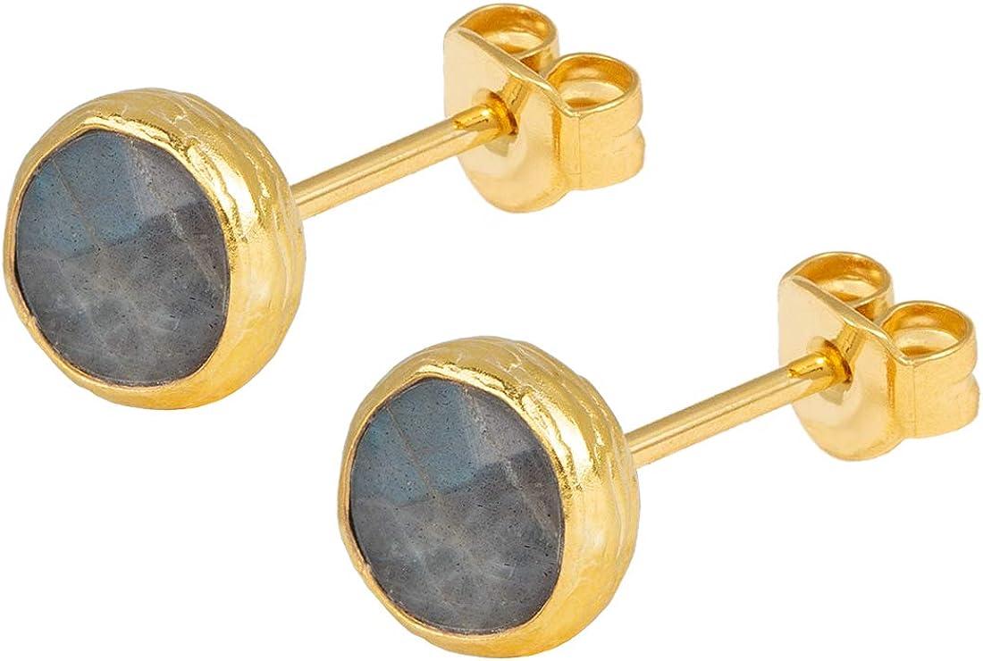 Pendientes para mujer de Sarah Bosman de plata dorada y labradorita grisácea. Pendientes redondos de plata chapada en oro con piedras preciosas grises. SAB-E26GRALABG