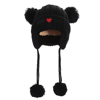 Bonnet unisexe tricoté bebe enfant fille pompon, bonnet tricot naissance  6-12mois, 1 c3c6c5a4e07