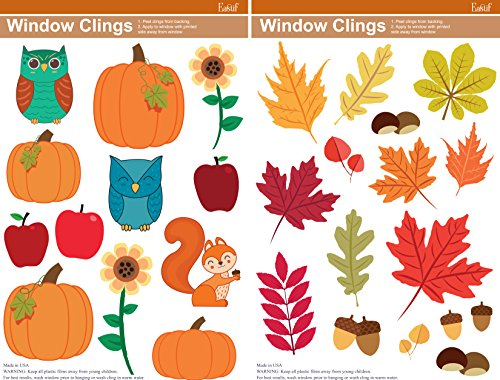 (Fall Window Clings, 2 Sheets featuring Pumpkins, Autumn Leaves, Owls & More )