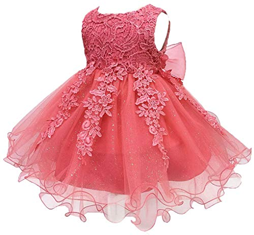 Shiny Toddler Little Girls Lace Applique Birthday Party Flower Girl Dress with Petticoat,2 to 3,Coral -