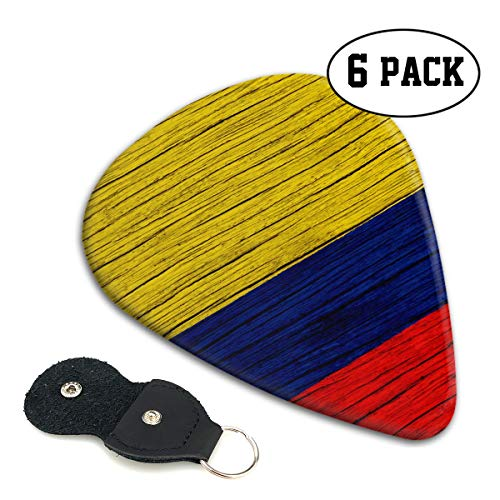 - Nice Music Wooden Texture Colombian Flag Ultra Thin 0.46 Med 0.71 Thick 0.96mm 6 Pieces Each Base Prime Celluloid Ivory Jazz Mandolin Bass Ukelele Plectrum Guitar Pick Pouch Display