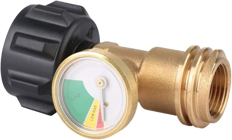 YCX Quemadores de Gas del regulador de presión de Gas, Adaptador de latón manómetro PSI Herramienta de Instrumento de Prueba de presión de Gas Barbacoa de Gas