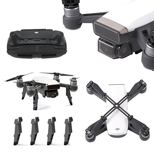 Rantow for DJI Spark Drone Parts Accessories Protector Set, Gimbal Camera Lens Cap Guard + Joysticks Protector + Height Extender Landing Gear + Propeller Props Clip Blades Protector by Rantow
