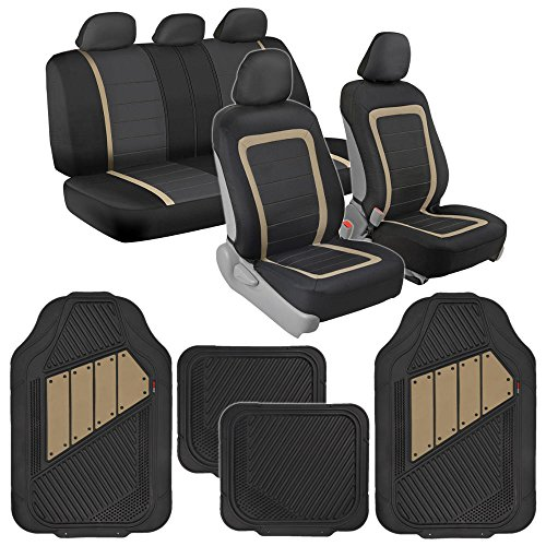 BDK Advanced Performance Car Seat Covers & Heavy Duty Rubber Floor Mats Combo (w/ Motor Trend 2-Tone (Subaru Legacy Car Seat Cover)
