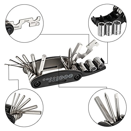 WOTOW Bicycle Repair Set Bike Outdoor Seat Saddle Bag 14 in 1 Multi Function Tool Kit Chain Splitter (Black2)
