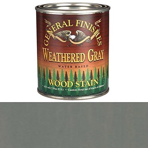 Interior Water Based Wood Stain - General Finishes PTWG Water Based Wood Stain, 1 Pint, Weathered Gray