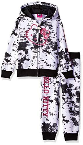 Hello Kitty Girls' Toddler 2 Piece Hooded Fleece Active Set, White, 4T (Hello Kitty Leggings)