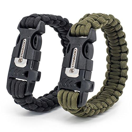 Steinbock7® Paracord Survival Armband, 2er Set, Grün & Schwarz, Inklusive Anleitung zum Flechten