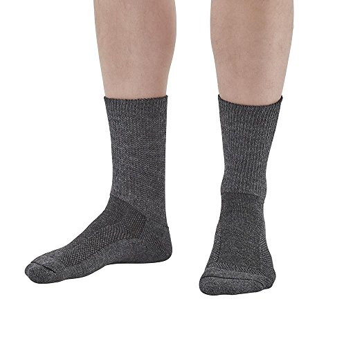 Ames Walker AW Style 738 Merino Wool Crew Socks Charcoal LG X-LG - Everyday Sock - Sports Sock - Diabetic Sock - Active and Comfortable - Unisex - Cozy Wool Material