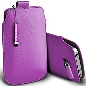 Shelfone Stylish Protective Leather Pull Tab Skin Case Cover For Samsung Galaxy Y TV S5367 S Includes Stylus Pen Purple