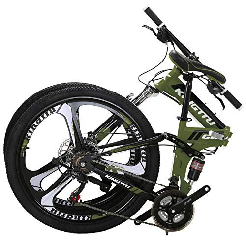 10. Kingttu EURG6 Mountain Bike 26 Inches 3 Spoke Wheels Dual Suspension Folding Bike