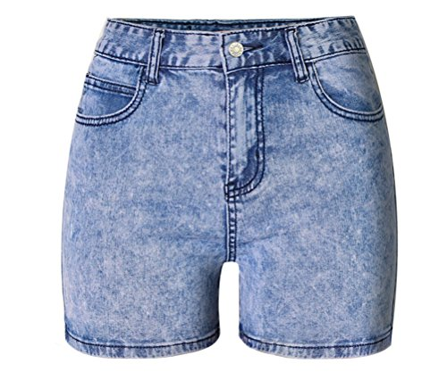 FuweiEncore Shorts en Jeans Taille Haute Skinny Grande Taille Slim Sexy Chic Bleu