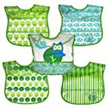 green sprouts Wipe-off Bibs (5 pack) | Waterproof protection for messy eaters | Flip-pocket easily catches stray food, Extra-long coverage to protect clothes, Adjustable closure