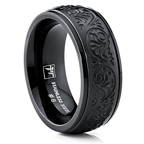 Bonndorf 7MM BLACK Stainless Steel Ring With Engraved Florentine Design Size 8