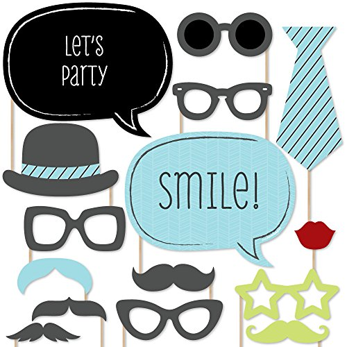 Dashing Little Man Mustache Party - Photo Booth Props Kit - 20 (Little Man Baby Shower Centerpieces)