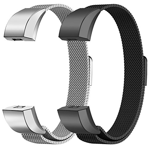 Oitom for Fitbit Alta HR Accessory Bands and for Fitbit Alta Band, Fashion Stainless Steel Milanese Loop Wristband (2 Pack Silver+Black, Large 6.7-9.3)
