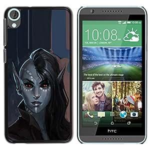 YOYOYO Smartphone Protección Defender Duro Negro Funda Imagen Diseño Carcasa Tapa Case Skin Cover Para HTC Desire 820 - elfa mística de cuento de hadas del arte del retrato