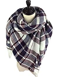 LS Lady Stylish Large Tartan Warm Blanket Scarf Gorgeous Wrap Scarf Shawl (Brown)