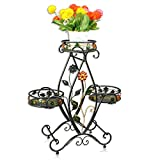 QFFL huajia Iron Flower Rack Floor-Type Multi-Storey pots Living Room Indoor and Outdoor Green Grass Hanging Orchid Shelf Basket Flower Rack (3 Colors Optional) (67 72cm) (Color : B)