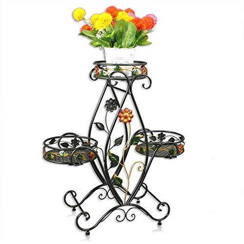 QFFL huajia Iron Flower Rack Floor-Type Multi-Storey pots Living Room Indoor and Outdoor Green Grass Hanging Orchid Shelf Basket Flower Rack (3 Colors Optional) (67 72cm) (Color : B) by Huifang Flower racks