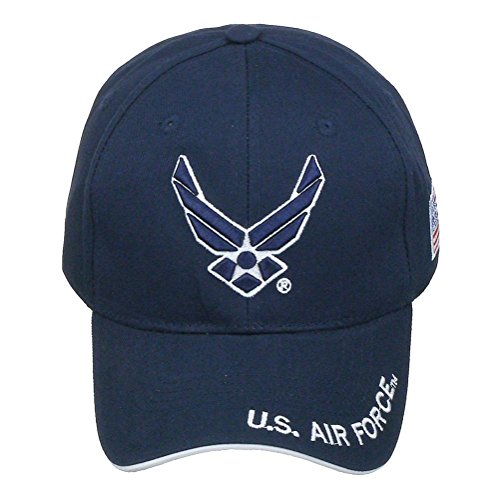 Official Licensed US Air Force with US Flag Adjustable Back Cotton Cap Hat - Navy ()