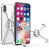 OATSBASF for iPhone X Bumper, for iPhone X Case Ring with 360 Degree Rotating Finger Ring Stand Holder Grip Case with Screen Protect Slim Cover for Apple iPhone X(iPhone X-Silver1)