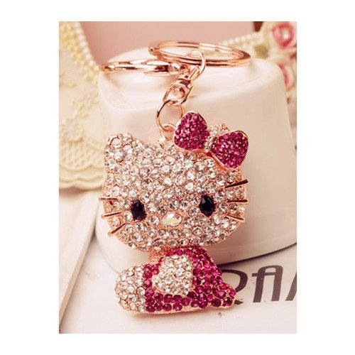 Swarovski Elements Rhinestone Crystals Keychain Creative Gift Hello Kitty Dangle Charm Car Gift Accessory Handbag Purse Bag Charm Keyring Love Gift Peach (Swarovski Crystal Key Ring Keychain)