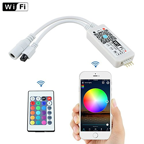 Ucharge Mini Wi-Fi RGB Led Controller+IR 24 Keys Remote Controller for Strip Lights 3528 5050 SMD (Android/IOS Support)