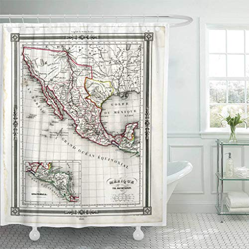 Emvency Waterproof Fabric Shower Curtain Hooks Vintage 1846 Antique Map of Mexico and Texas Republic Baja Yucatan 66