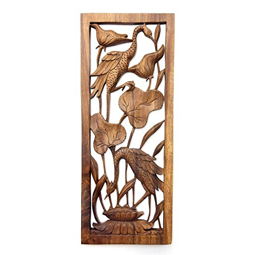 NOVICA 211520 Herons in a Lotus Pond' Wood Relief Panel Carved Bali Wood Art