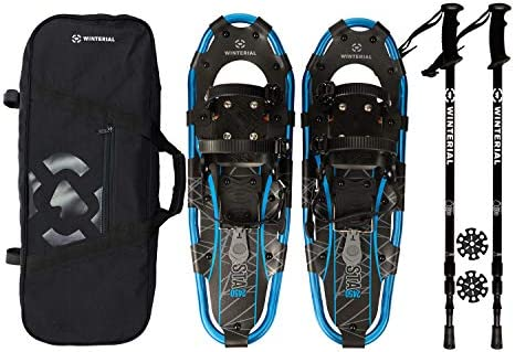 Winterial Shasta Snowshoes 25 Inch Lightweight Aluminum Rolling Terrain Blue Snow Shoes with Carry Bag and Adjustable Poles