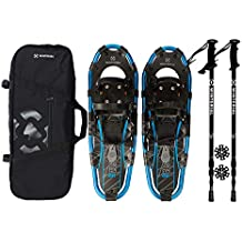 "Winterial Shasta Snowshoes 25"" Lightweight Aluminum Recreational All Terrain Blue Black Snow Shoe. Includes Carry Bag, Adjustable Poles"