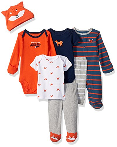 Carter's Boys' 7-Piece Set with Bodysuits, Orange Fox, Newborn