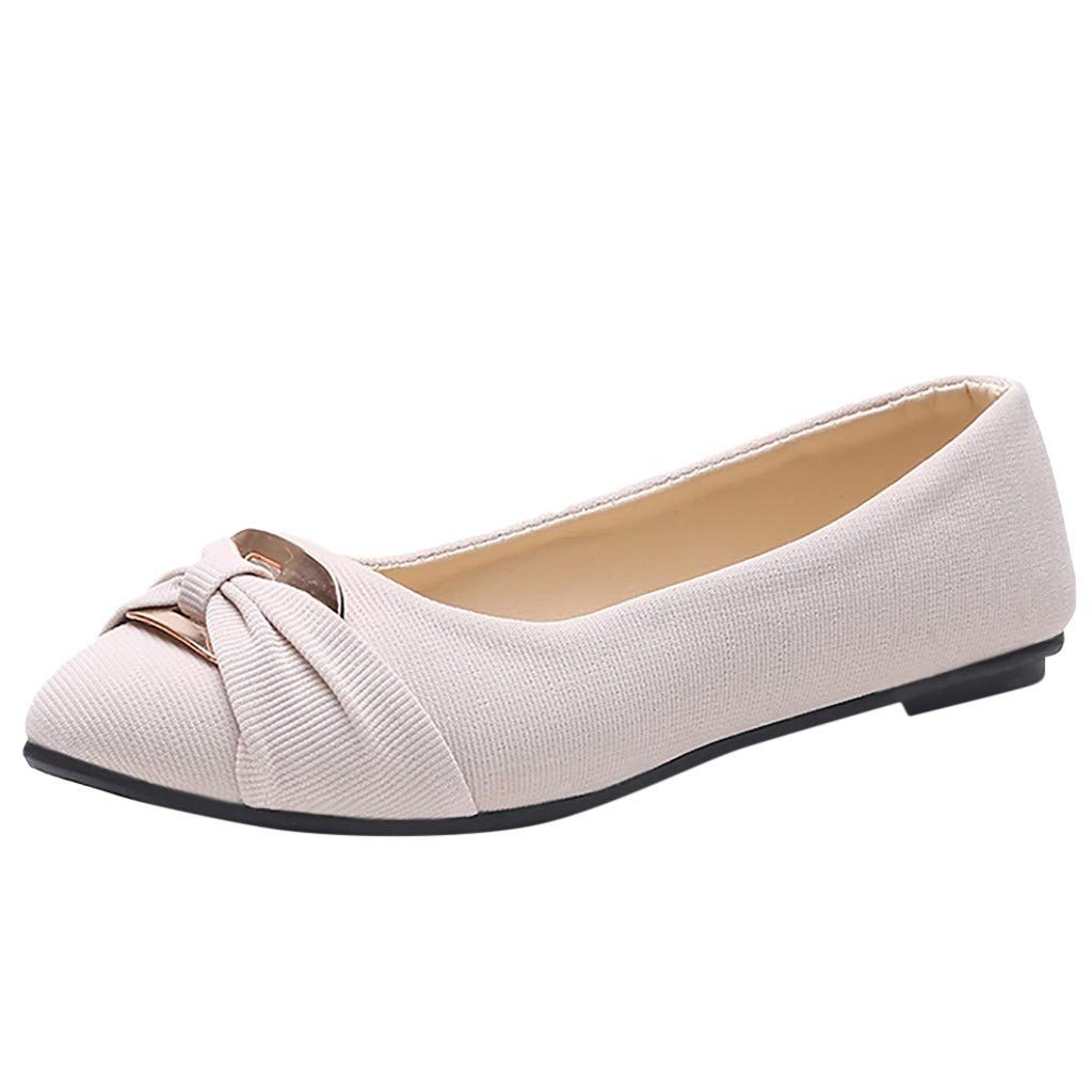 Aunimeifly Stylish Women Solid Color Summer Round Toe Pumps Single Shoes Ladies Casual Work Flats White by Aunimeifly