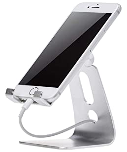 AmazonBasics Support de téléphone portable ajustable pour iPhone et Android | Argenté