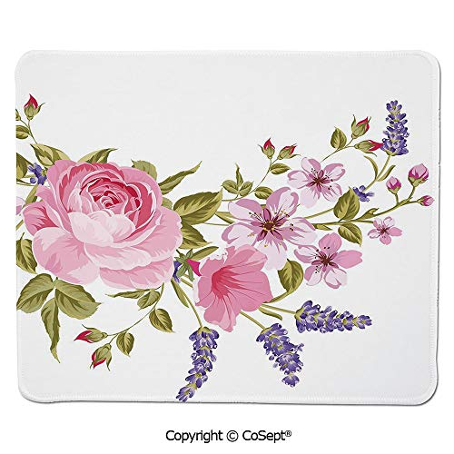 Ergonomic Mouse pad,Bridal Style Garland of Rose Sakura and Lavender Vintage Artistic Bouquet Flora,for Computer,Laptop,Home,Office & Travel(15.74