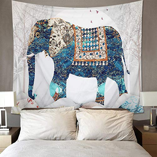 Elephant Tapestry Wall Hanging Indian Bohemian Good Fortune Walking Green Elephant Wall Hanging Wall Art Background for Room Drom Wall Decor (Elephant, 51.2ʺ × 59.1ʺ)
