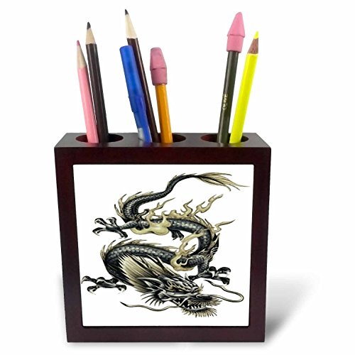 3dRose ph_63149_1 Lucky Dragon Dragon, Chinese Dragon, Year of The Dragon, Chinese New Year, Gift Idea, Fathers Day Tile Pen Holder, 5-Inch -