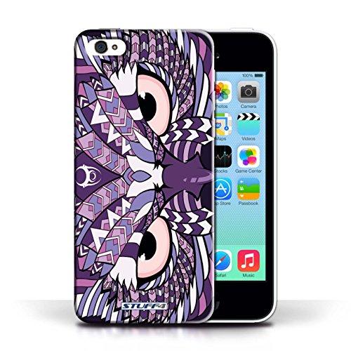 iCHOOSE Print Motif Coque de protection Case / Plastique manchon de telephone Coque pour Apple iPhone 5C / Collection Motif Animaux Aztec / Hibou-Pourpre