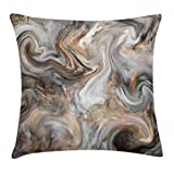 Ambesonne Marble Throw Pillow Cushion Cover, Retro Style Paintbrush Colors in Marbling Texture Watercolor Artwork, Decorative Square Accent Pillow Case, 18 X 18 Inches, Sand Brown Dust Light Grey