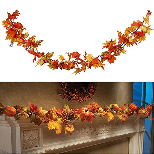 WensLTD 1.8M/70'' LED Lighted Fall Autumn Pumpkin Maple Leaves Garland Thanksgiving Decor (Mulitcolor) by WensLTD