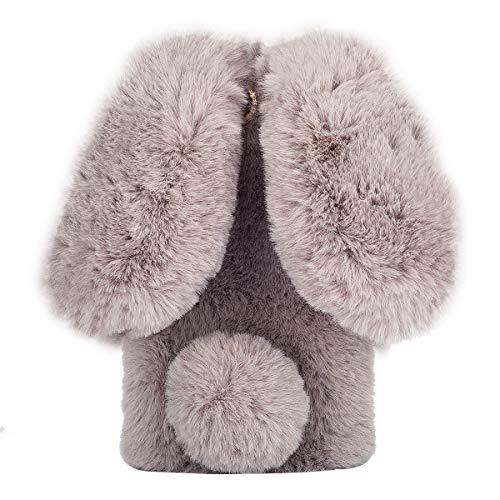 Shinyzone Cute Fluffy Bunny Case for Samsung Galaxy S10,Luxury 3D Handmade Diamond Case,Dark Grey Furry Rabbit Ears Faux Fur Winter Warm Plush Cover for Samsung Galaxy S10